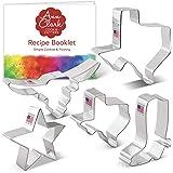 "Ann Clark Cookie Cutters 5-Piece Texas Cookie Cutter Set with Recipe Booklet, Texas 3"" & 4.4"", Long Horn, Star, Cowboy Boot"
