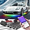 Car Underglow Lights, Bluetooth Dream Color LED Strip Lights Kit, 6 PCS Waterproof Exterior Car Lights with Ultra Long 2-in-1
