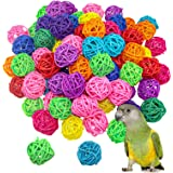 VUAOHIY 80 Pieces Bird Toy Rattan Balls Parrot Wicker Ball Birds Toy Parakeet Chewing Toys Pet Cage Bite Toys for Parakeet Bu