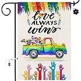 Bonsai Tree Pride Flag 12x18, Double Sided Rainbow Gay Pride Burlap Garden Flags, Straight Love Always Wins LGBTQ Yard House