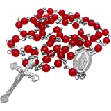 Nazareth Store Catholic Round Crystal Beads Rosary Necklace, Red Crystals Miraculous Centerpiece Medal & Silver Cross, Velvet