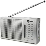 HDi Audio Premium Portable Compact AM/FM Radio with Built in Speakers + Headphone Jack Pocket Novelty Radio - Silver (Amazon