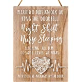 VILIGHT Nurse Gifts for Women Men - Night Shift Nurse Sleeping Sign for Door and Yard - New Nurse Graduation Gift Idea - Hand