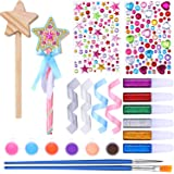 24 Pieces Make Your Own Princess Wand Craft Kit Includes 2 Wooden Star Wands, 2 Dowels, 4 Satin Ribbons, 2 Gem Stickers, 6 Pa
