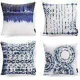 """PHANTOSCOPE Set of 4 Decorative Blue and White Porcelain Throw Pillow Cover 18"""" x 18"""" 45cm x 45cm"""