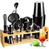 Cocktail Shaker Set Bartender Kit, 14 PCS Cocktail Shaker Stainless Steel Bar Tool Set with Stylish Bamboo Stand   Best Gifts