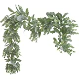 Lambs Ear Garland Greenery and Eucalyptus Vine / 38 Inches Long/Light Colored Soft and Drapey Natural Looking Flocked Lambs E
