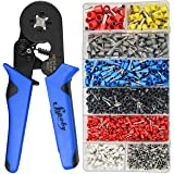 Ferrule Crimping Tool Kit - Sopoby Ferrule Crimper Plier AWG 28-7 (0.08-10mm²) w/ 1200pcs Wire Ferrules Crimp Wire Ends Termi