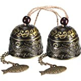Chuangdi 2 Pieces Fengshui Bell Vintage Dragon Bell Fengshui Wind Chimes for Home Garden Hanging Good Luck Blessing