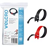 """VELCRO Brand Cable Ties, 100Pk - 8 x 1/2"""" Red and Black, Reusable Alternative to Zip Ties, ONE-WRAP Thin Pre-Cut Cord Organiz"""