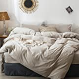 MOOMEE Solid Bedding Duvet Cover Set (1 Comforter Cover + 2 Pillow Shams) 100% Washed Cotton Linen Like Textured Breathable D
