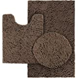 HOMEIDEAS 3 Pieces Bathroom Toilet Cover Set Brown, Extra Soft Chenille Bathroom Rugs, Absorbent Plush Shaggy Bathroom Rugs S
