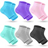 Selizo 6 Pairs Heel Moisturizing Socks Open Toe Socks Cracked Gel Heel Socks Foot Toeless Cooling Heel Repair Socks for Women
