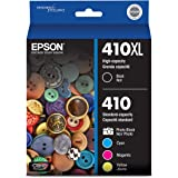 Epson T410XL-BCS Claria Premium Black High Capacity and Photo Black and Color Combo Pack Standard Capacity Cartridge Ink