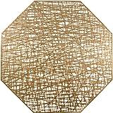 U'Artlines Octagonal Placemats Hollow Out Mats Vinyl Non-Slip Heat Insulation Kitchen Table Mats, Gold, Placemats 6pcs