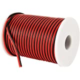 C-able 100FT 18 AWG Gauge Electrical Wire Hookup Red Black Copper Stranded Auto 2 Wire Low Voltage 12v DC Wire for Single Col