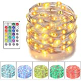 Asmader LED Fairy Lights Battery Powered Multi Color Changing String Lights With Remote Control Waterproof Decorative Silver
