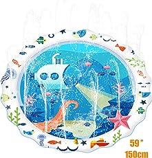 Big King 噴水マット 噴水おもちゃ プレイマット ビニール プール 子供 キッズ 水遊び 親子遊び トイ プールマット 夏 家庭用 芝生遊び シャワーおもちゃ ビーチマット 150CM (ブルー, L)