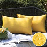 EMEMA Outdoor Waterproof Throw Pillow Covers Water Resistant Garden Chair Decorative Solid Cushion Case for Garden Couch Pet