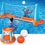 Inflatable Pool Float Set Volleyball Net & Basketball Hoops; Balls Included for Kids and Adults Swimming Game Toy, Floating,