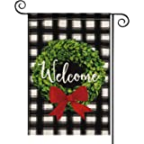 AVOIN Christmas Boxwood Wreath Red Bow Garden Flag Vertical Double Sided, Watercolor Buffalo Plaid Farmhouse Burlap Flag Yard