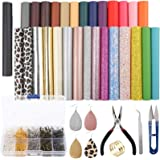 SGHUO 30pcs Leather Earring Making Kit Include 4 Kinds of Faux Leather Sheet and Tools for Earrings Craft Making Supplies