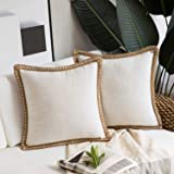 Phantoscope Pack of 2 Farmhouse Decorative Throw Pillow Covers Burlap Linen Trimmed Tailored Edges Off White 18 x 18 inches,