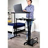 Mind Reader Mobile Sitting, Standing Desk Rolling Reversible Home Office Laptop Workstation with Side Storage, Locking Wheels