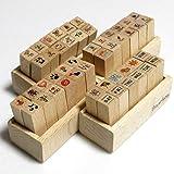 木製スタンプセット 曜日&天気 感情 予定 イラスト の 4タイプ! 日記 や 手帳 お 手紙 を かわいく デコ スタ…