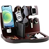Red Wooden Phone Docking Station with Key Holder, Wallet and Watch Organizer Men's Gift Husband Wife Anniversary Dad Birthday