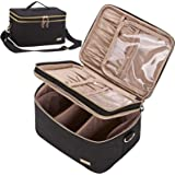 NISHEL Double Layer Travel Makeup Bag with Strap, Large Cosmetic Case Organizer Fits Bottles Vertically, Top Layer for Brushe