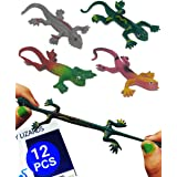 UpBrands 12 Pack Painted Rubber Lizards Toys 3 Inches Bulk Set, 4 Models, Kit for Birthday Party Favors for Kids, Goodie Bags
