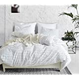 Argstar 3 Pcs White Grid Duvet Cover King, Buffalo Checker Bedding Set with Zipper, Geometric Plaid Comforter Cover, Gingham