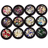 BlueZOO 12 Pack Mixed Nail Art Décor Accessories Decorations Rhinestones Diamonds Crystals Metal Studs Beads Gems for DIY Dec