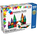 Magna Tiles 1517888 3-D Magnetic Building Tiles, Clear Colors, 100 Piece Set
