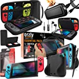 Switch Accessories, Orzly Essentials Pack for Nintendo Switch (Bundle Includes: Glass Screen Protectors, USB Charging Cable,
