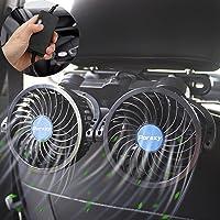 夏祭りセール中 PORAXY 車載扇風機 改良版2代目 4インチ 車載ファン 熱対策 電動ファン低騒音 無段階風量調節可…