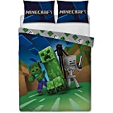 Minecraft Creeps Double Duvet Cover Officially Licensed Reversible Two Sided Creeper Design with Matching Pillowcase, Polycot