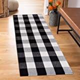SHACOS Extra Long Cotton Woven Rug Buffalo Check Runner Doormat Throw Rug Floor Rug Mat for Kitchen Bedroom Entryway Laundry