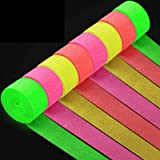 8 Rolls 1312.3 Feet Glow Party Streamer Decorations UV Blacklight Reactive Paper Fluorescent Neon Crepe Paper Streamers Black