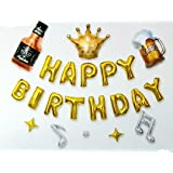 Happy Birthday Balloons Foil Letters, Wall decoration for Birthday Party Decoration - gold
