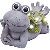 "Teresa's Collections 7.3X4.5"" Garden Frog Statue,Solar Powered Garden Lights for Outdoor Patio Yard Decorations"