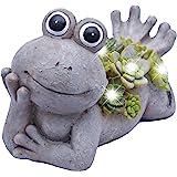 "Teresa's Collections 7.3X4.5"" Garden Frog Statue,Solar Powered Garden Lights for Outdoor Patio Yard Decorations"