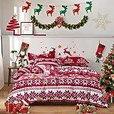 Uozzi Bedding Queen Duvet Cover Set Christmas Santa Claus Style 800 - TC Luxury Hypoallergenic 1 Microfiber Comforter Cover w