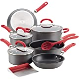 Rachael Ray Create Delicious Hard Anodized Nonstick Cookware Pots and Pans Set, 11 Piece, Gray with Red Handles