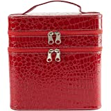 Hyperia PU Beauty Box Make Up Case Cosmetic Box Hand Bag Storage Box Vanity Case with Extra Large Space (Red)