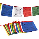 Juvale Tibetan Prayer Flag, Traditional Design with 5 Element Colors (10 x 10 inches, 25 Flags)