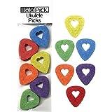 BoloPick Felt Ukulele Picks with Easy to Hold Heart Shape Cutout for Uke Guitar and Bass (12 Pack Multicolor :)