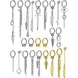 24 Pieces Stainless Steel Huggie Hinged Hoop Earrings Dangle Hoop Earrings Long Chain Pendant Earrings for Women Girls Men Bo