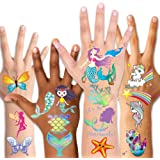 Temporary Tattoos for Kids(80pcs),Konsait Glitter Mermaid Unicorn Butterfly Tattoos for Children Girls Birthday Party Favors